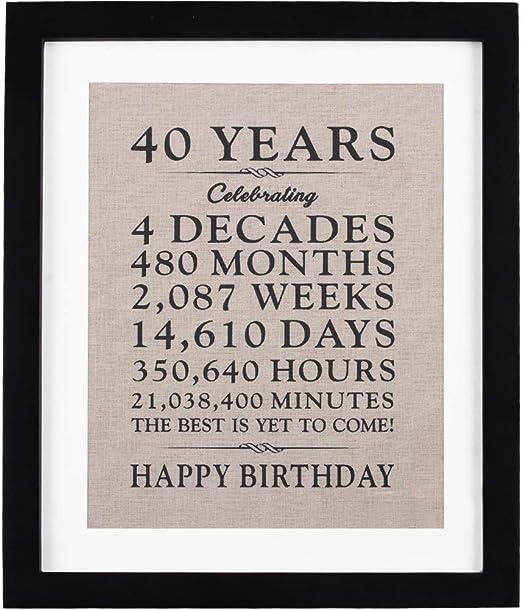 40th Gift 40th keepsake Birthday Photo Frame 40th Birthday Photo Frame