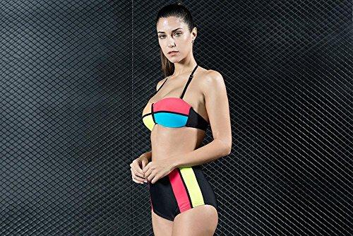 Vendaje de Mujer Color Fijo de Bikini de Talle alto Bloque Acolchado sujetador Traje picture color