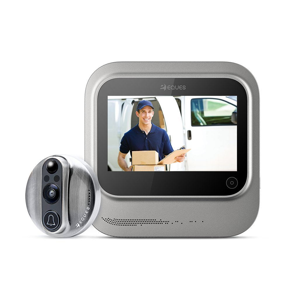 World's Smartest Video Doorbell - Eques VEIU Rechargeable Door Camera Peephole Viewer for Your Home Security - WiFi Enabled - Night Vision - Large LED Touch Screen - iOS & Android (Nickel)