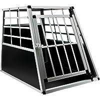 HENGMEI Faltbarer Alu Hundebox Hundetransportbox Reisebox Transportbox Gitterbox mit 1/2-Türig für Haustier