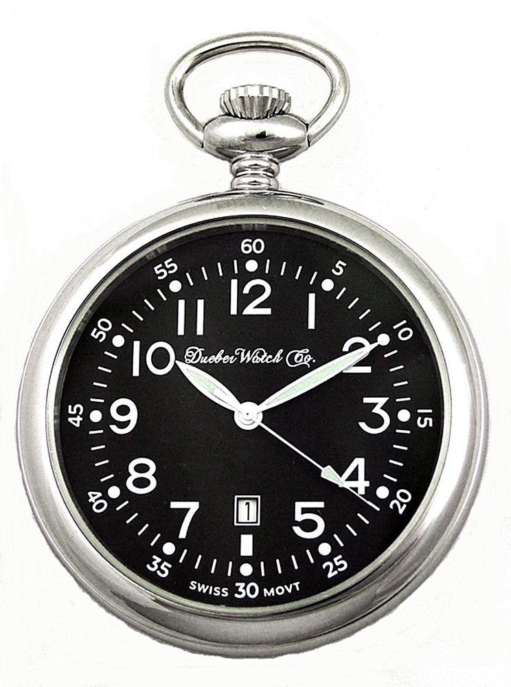 Dueber Swiss Military Style Pocket Watch with Black Dial, Luminous Hands, Steel Case by Dueber Watch Co