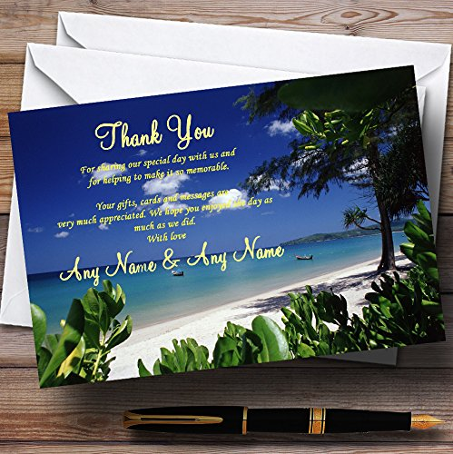 Thailand Beach Palm Tree Personalized Wedding Thank You Cards