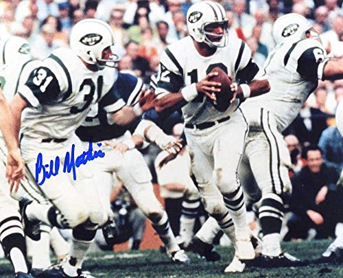 Bill Mathis Autographed/Original Signed 8x10 Color Action-photo w/the New York Jets (NY Titans/Jets 1960-1969)