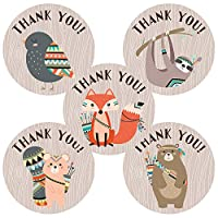 Tribal Woodland Forest Animal Thank You Sticker Labels - Birthday Baby Shower Wood Party - Set of 50