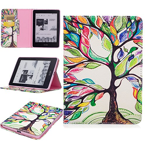 GNT Folio Case for Amazon Kindle Voyage, Premium PU Leather Wallet Flip Stand Case Cover for Amazon Kindle Voyage 6inch 2014(Colorful Tree)