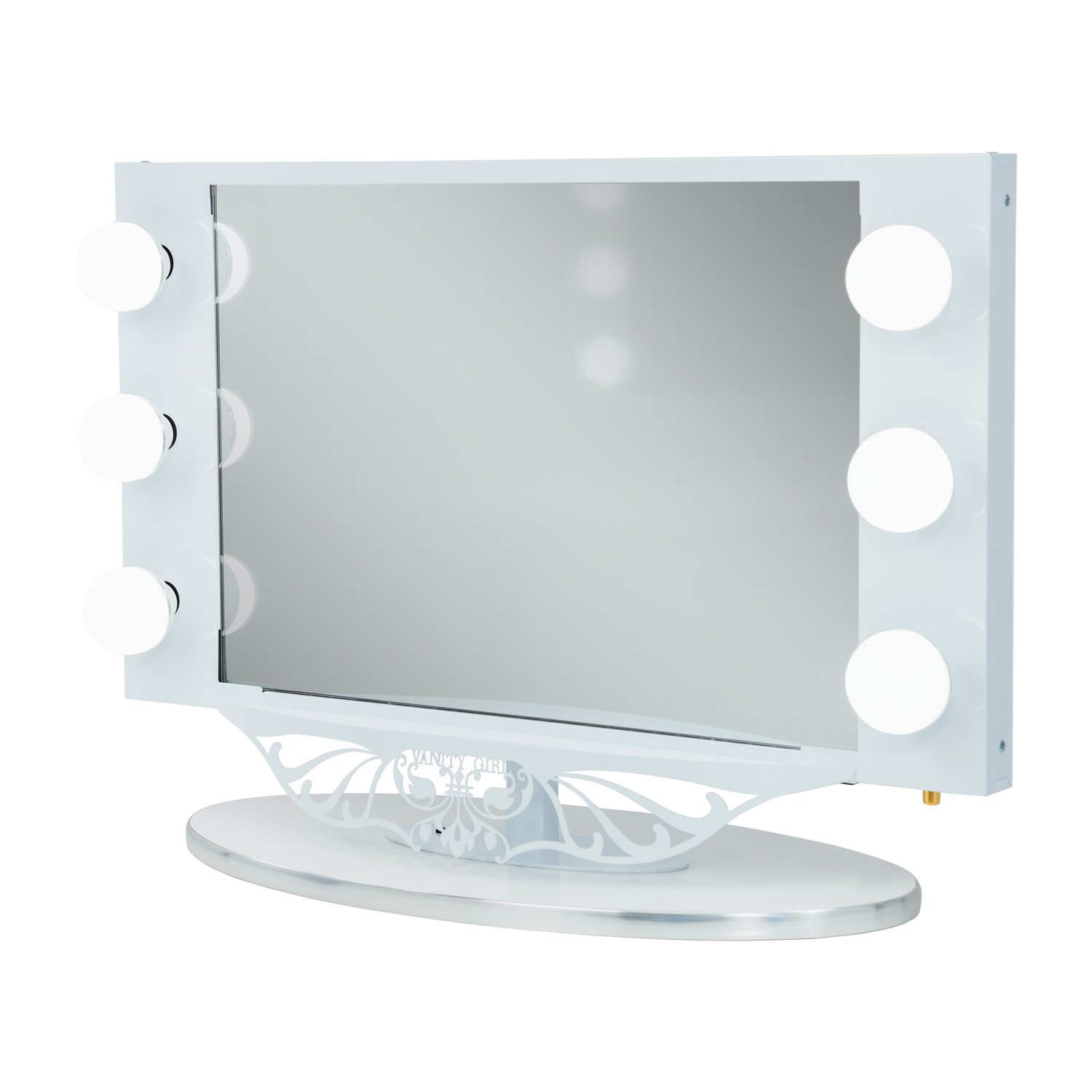 White Vanity Girl Starlet Lighted Vanity Mirror with Optic Glass and 6 Cosmetic Light Bulbs Around Frame
