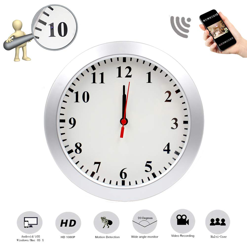 Amazon.com : Mopora WiFi Indoor Hidden Camera Wall Clock, 1080P Remote View, and Motion Detection Monitor Your Home and Office : Camera & Photo