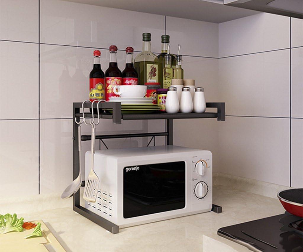 Yxx max Organizador Cocina Estantes de Cocina retráctiles Horno de microondas Rack Horno eléctrico Rack Double Seasoning Rack Landing Espacio de Almacenamiento (Color : Black)
