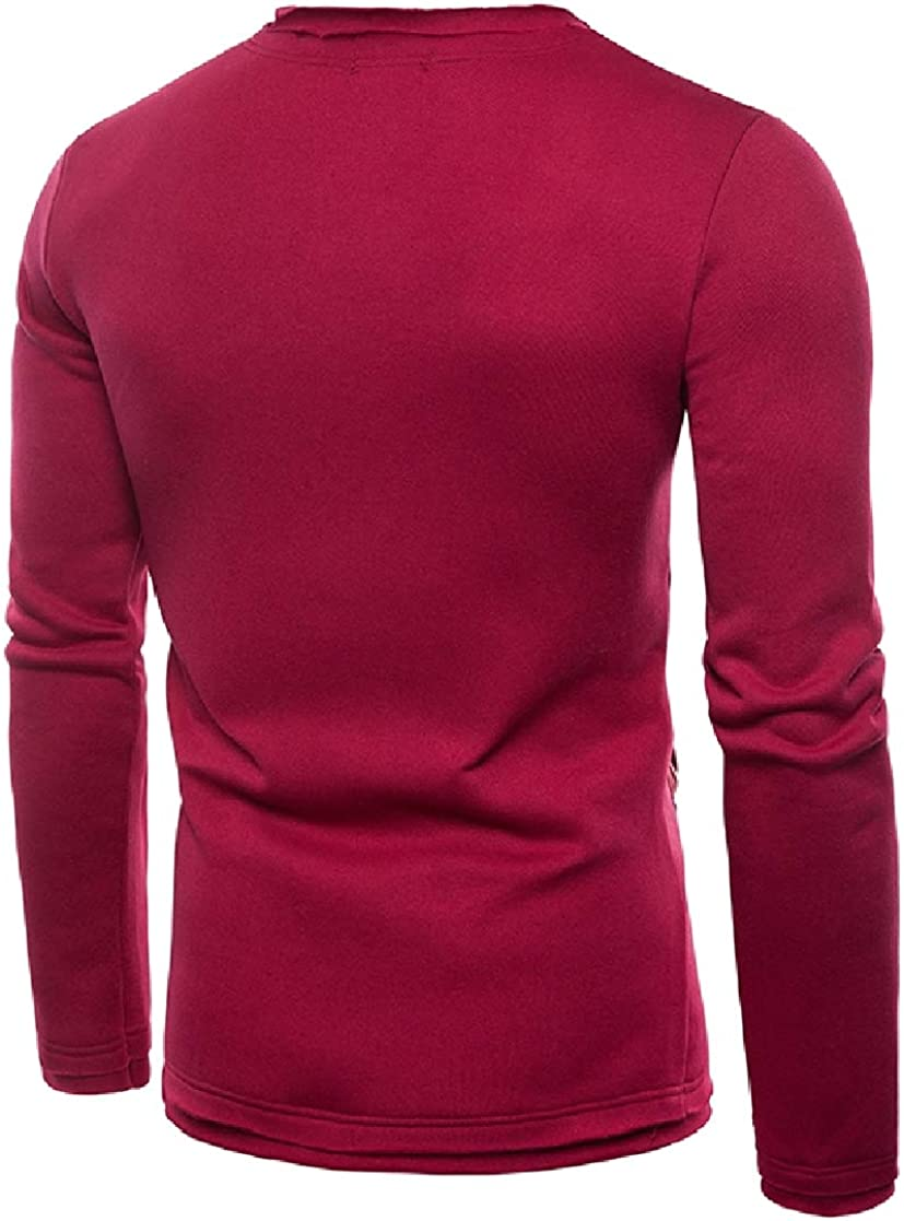 YUNY Mens Inclined Zipper Crewneck Simple Long Sleeve Pullover Tracksuit Top Red M