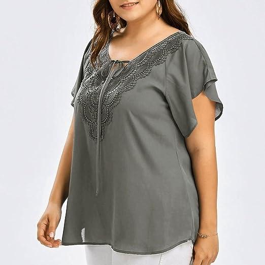 de807634b4c62 Plus Size Women Lace Ruffle Short Sleeve Tops Tunic Blouse Summer Casual  Loose Fit Tee T