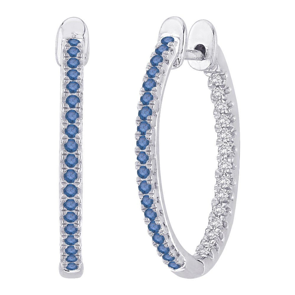 Blue and White Diamond ''In and Out'' Hoop Earrings in Sterling Silver ( 1/3 cttw)