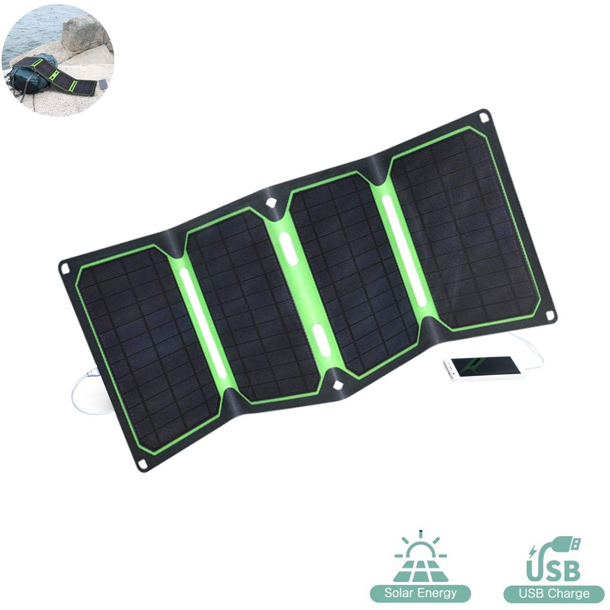 EFGS 4 Solar Panels 25W Foldable Portable Solar Charger with waterproofand Dual USB Ports for iPhone, Huawei, Samsung and More