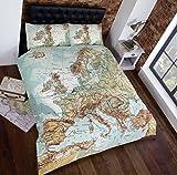 Urban Unique European Map Photographic Print Duvet Cover Bed and Pillowcase Set, Muti, Single