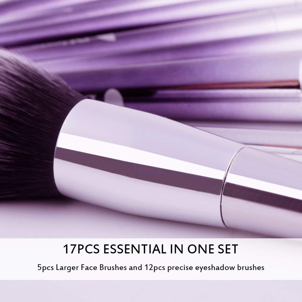 a972537f1ba4 DUcare Makeup Brush Set 17Pcs Professional EyeShadow Foundation Powder  Blending Brushes
