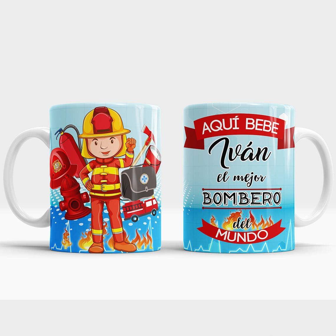Taza Aquí Bebe el Mejor Bombero del Mundo/Taza aqui Bebe un Super Bombero/Taza Personalizada con Nombre/Taza Regalo Original para Bombero (Bombero)