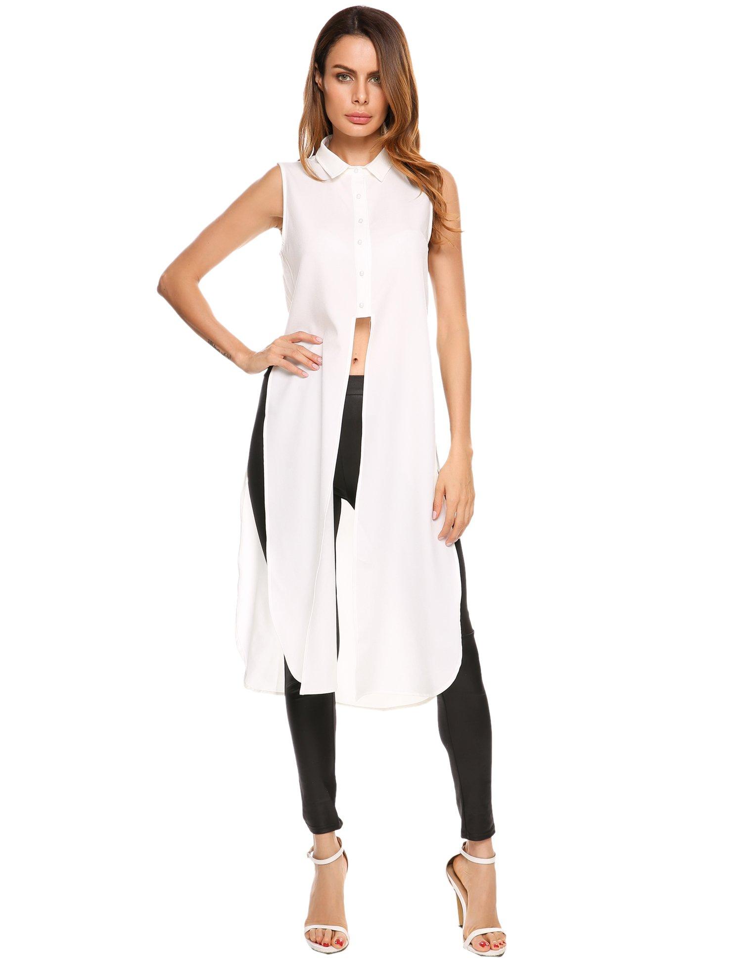 Zeagoo Women's Casual Summer V-Neck Tank Tops Chiffon Blouse Shirt,White,XL