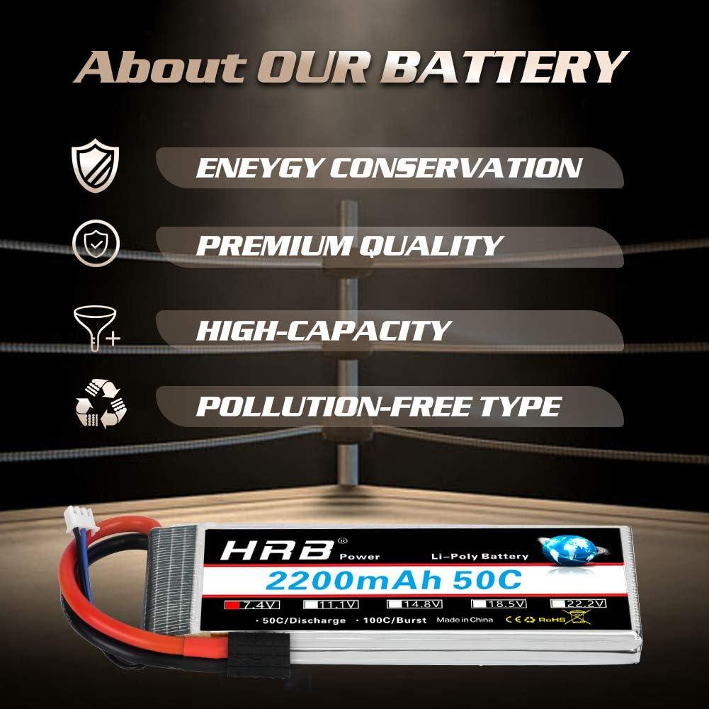 HRB 2pcs 2S 7.4V 2200mAh 50C Batería Lipo con Traxxas TRX Enchufe para RC Helicóptero Avión Coche Barco Barco
