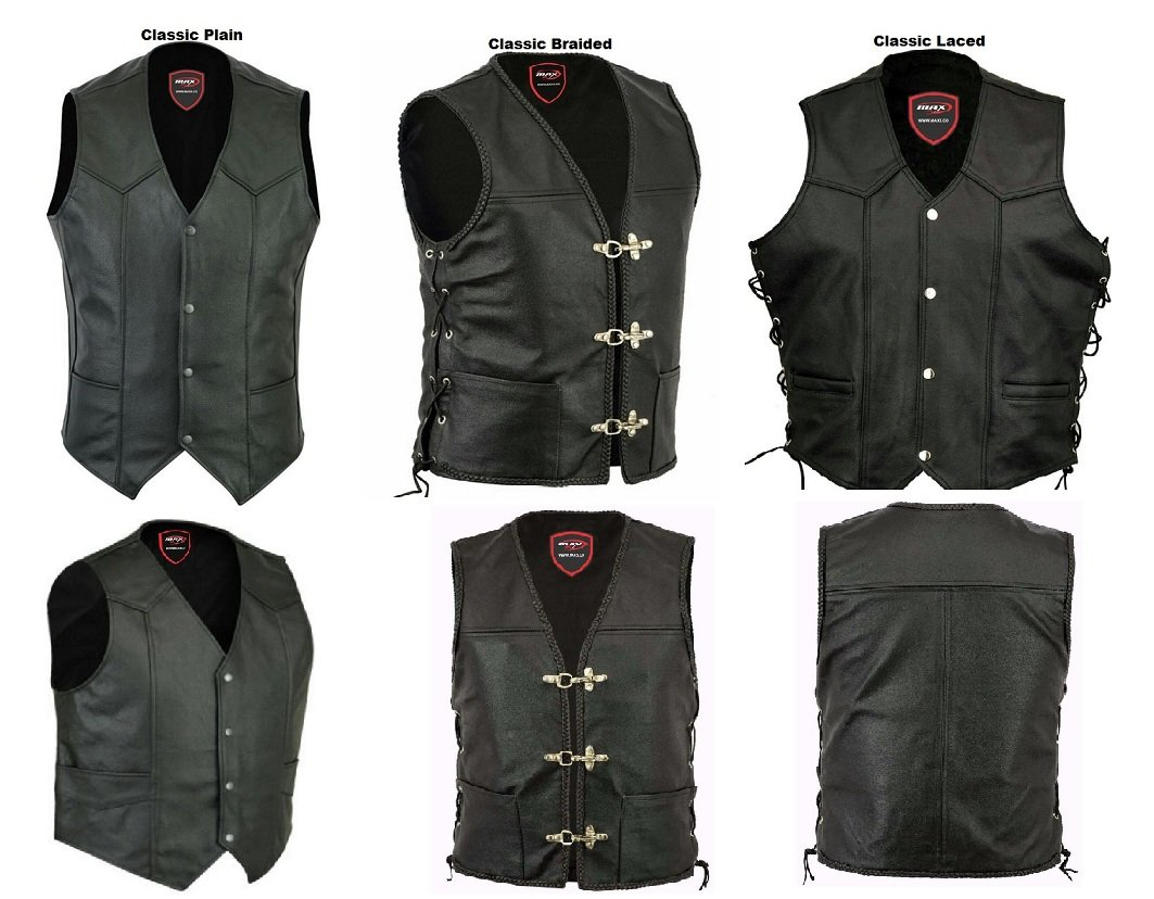 New Motorbike Leather Men Waistcoat MAXFIVE Gilet Biker Style Motorcycle Vest Classic Harley Style Touring Urban City Waistcoats Black X-Large, Classic Laced