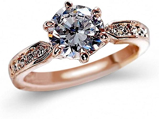Rose Gold, Adjustable Women Gift,Cubic Zirconia Ring 14K Rose Gold Plated Halo Engagement Openwork Wedding Rings Women Bridal Sets for Teen Girls