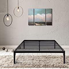 Just forget the weak wood slat bed frames and the squeaking. We care for your comfort and your safety. 14 inch high profile allows you to make full use for under bed storage and forget the box Springs. It is just the right Height for everyone...