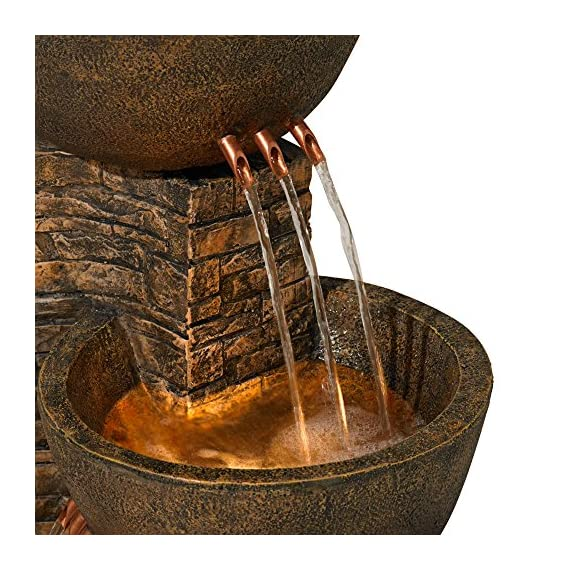 """John Timberland Mason Outdoor Floor Water Fountain Three Bowl Floor Cascade 35"""" for Yard Garden Lawn - 35"""" high x 15"""" wide x 16 1/2"""" deep. Weighs 26 lbs. Stone finish fountain with light. From the John Timberland brand. Three tiers of water bowls creates a soothing, relaxing sound. Can be used indoors or outside. - patio, outdoor-decor, fountains - 61BcESFGhkL. SS570  -"""