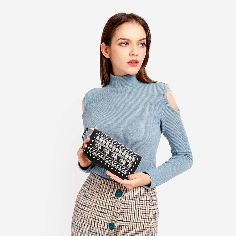 K A Women\'s RFID Blocking Zip Around Wallet Clutch Large Capacity Travel Purse Chevron Zigzag Bag (Black-3)