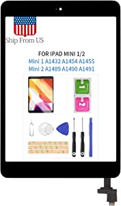 Digitizer Screen Replacement for iPad Mini 1 2 Mini1 A1432 A1454 A1455 Mini2 A1489 A1490 A1491 Touch Screen Glass Panel with Home Button and IC Connector Touchscreen Free Tools Kits (Black)