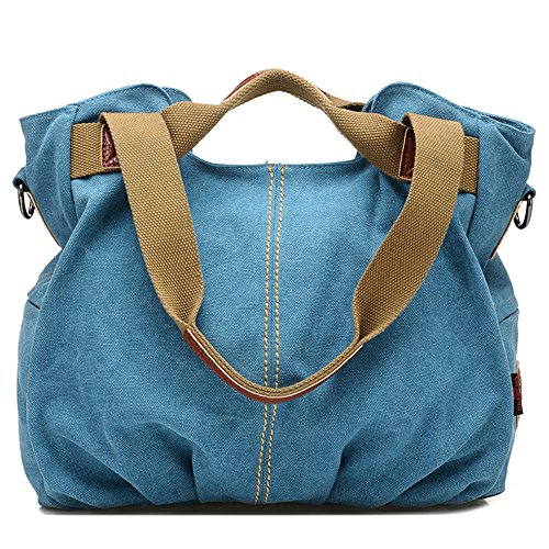 Hobobag Crossbody Bag Casual Ladies Handle Canvas Capacity Bag Daily and Women's Blue Large apFFR
