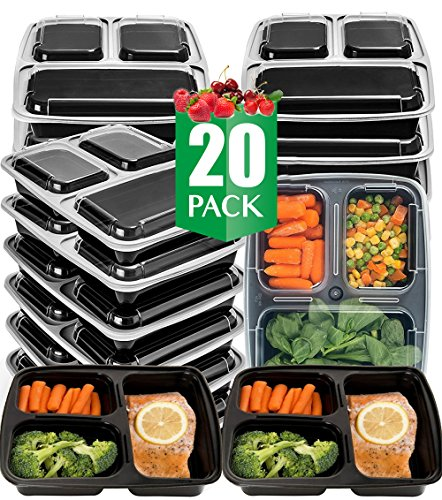 Vivaware [20 Pack] 3 Compartment Meal Prep Containers with Lids - Food Storage Bento Box - BPA Free - Stackable - Reusable Lunch Boxes - Microwave , Dishwasher , Freezer Safe - Portion Control