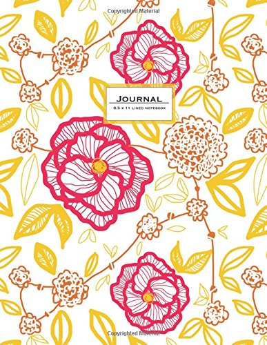 Download Journal (Diary, Notebook) 8.5 x 11 Lined: Modern Floral Art, Pink Flowers (Ruled Journals To Write In) ebook