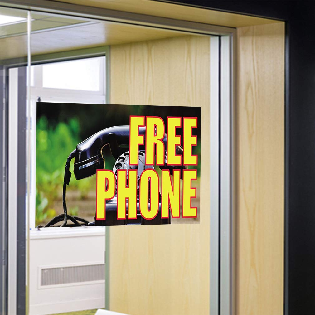 14inx10in Set of 10 Decal Sticker Multiple Sizes Free Phone #3 Retail Free Phone Outdoor Store Sign Yellow