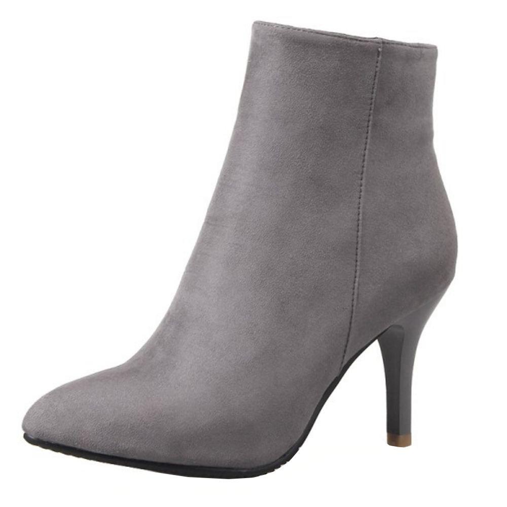 RAZAMAZA Damen Pumps Stiletto Stiefel High Heels Kurzschaft Stiefelette  45 EU Grey