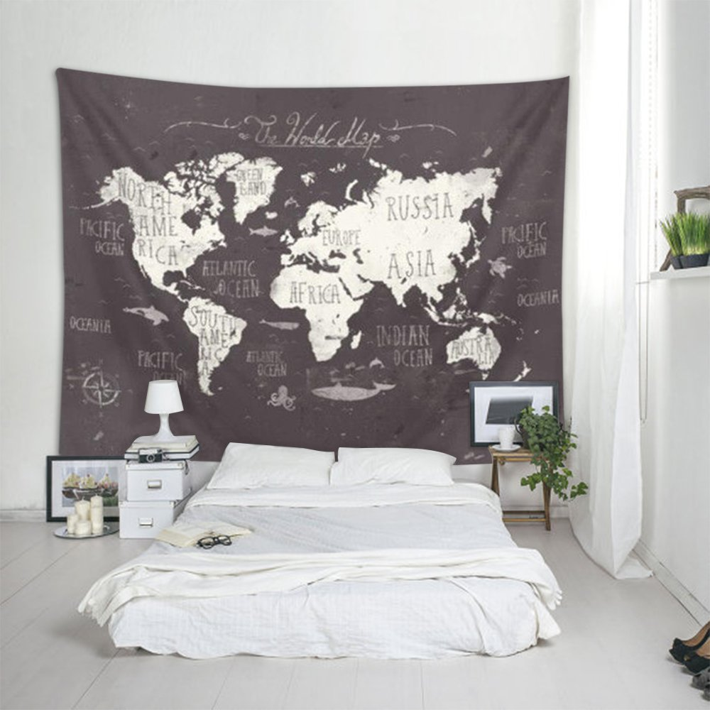 Amazon bleum cade starry world map tapestry black white ileadon black world map tapestry wall hanging polyester fabric wall decor for bedroom 60 gumiabroncs Image collections