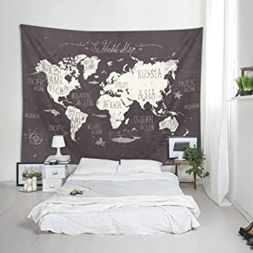 ILeadon Black World Map Tapestry Wall Hanging U2013 Polyester Fabric Wall Decor  For Bedroom (60