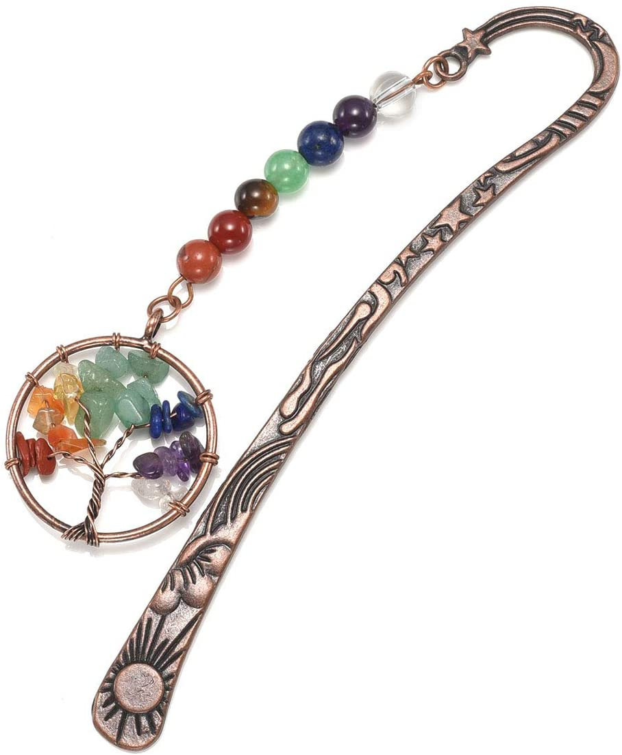 Jovivi - Marcapáginas de metal, diseño vintage de estrella de bronce y luna, incluye 7 chakras de gemas y colgante del árbol de la vida de alambre, unisex, pack de 1 a 10, 1 árbol de la vida.