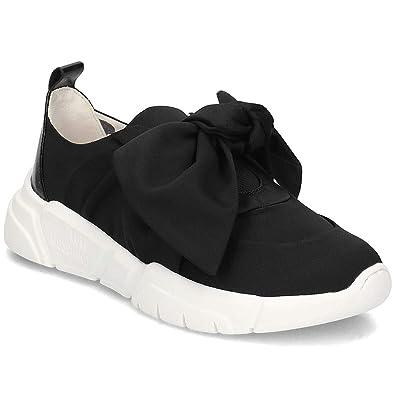 9c0541f66d45cf Love Moschino Chaussures Femme Baskets Satin Noir avec Noeud Printemps,été  2019 ...