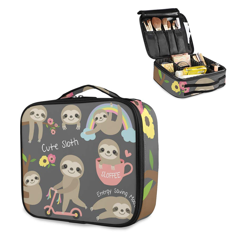 Travel Makeup Bag, Cute Makeup Case Bag Large, Sloth Makeup Bag with Adjustable Dividers
