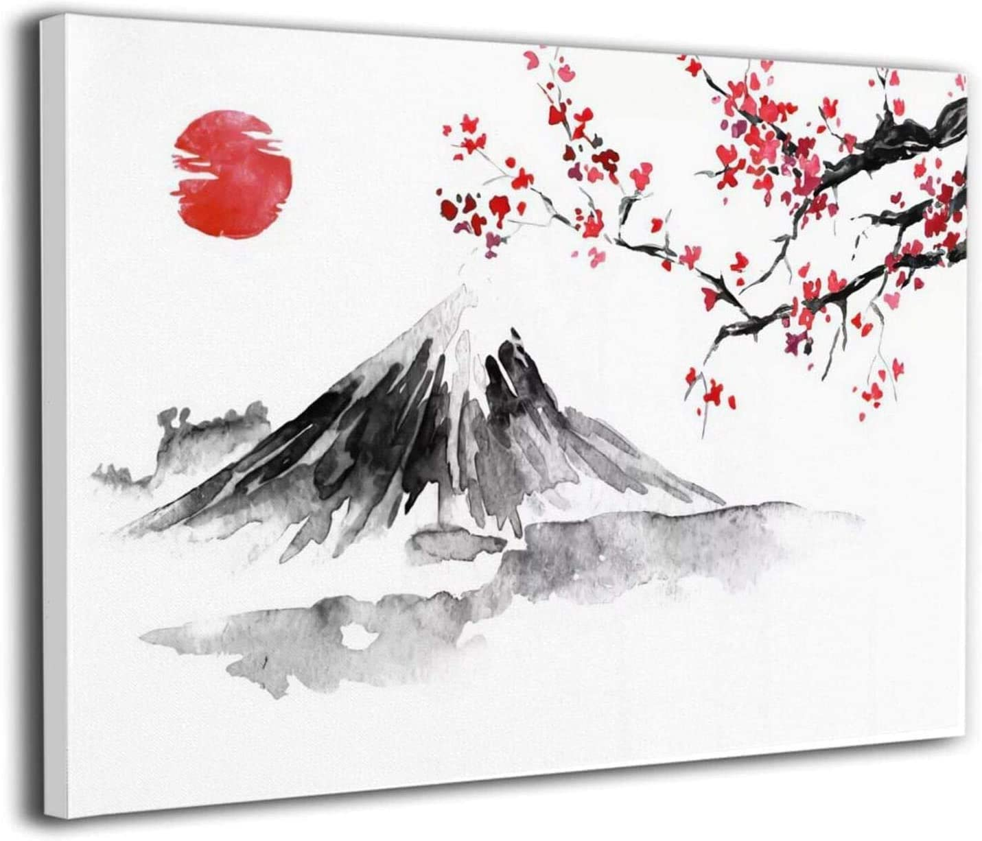 Colla Fuji Mountain, Cherry Blossom and Red Sun Wall Decor Canvas Print Modern Painting Pictures for Kitchen Home Decor Stretched and Framed Ready to Hang 12x16 Inch