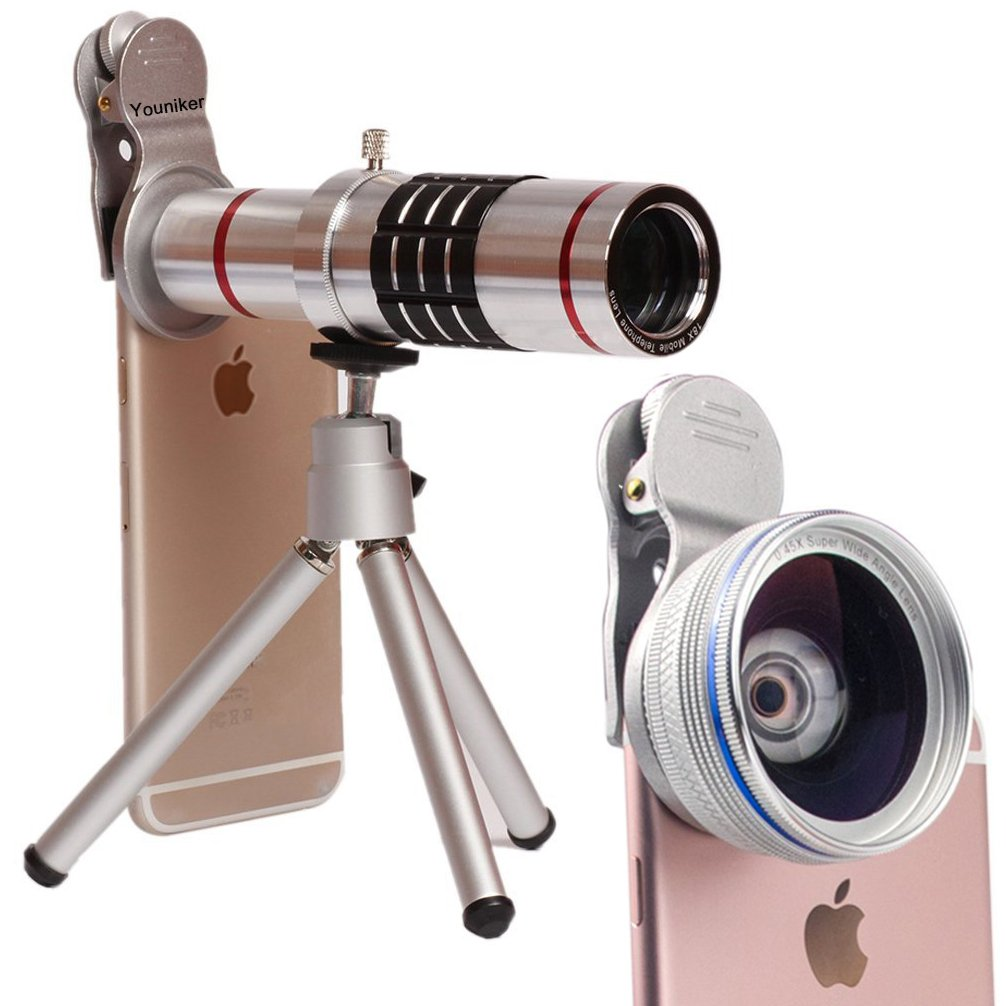 Youniker 3 in 1 Universal Camera Lens,18X Zoom Telephoto Lens+0.45X Wide Angle Lens+12.5X Macro Lens,Clip-on Cell Phone Camera Lens for iPhone 8/7/6 Plus,Samsung,Most Smartphones With Tripod (Silver)