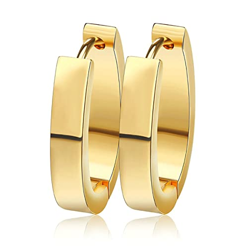 Gold 3Pairs Mens Womens Stainless Steel Tube Hoop Ear Ring Stud Earrings