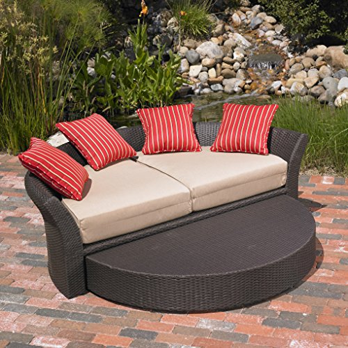 Mission Hills Corinth Daybed Sunbrella Outdoor Patio Round Brown Wicker Ratta