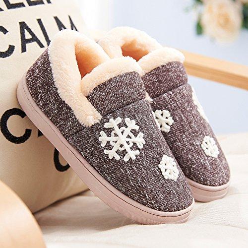 Y-Hui Autunno e Inverno maschio pantofole di cotone borsa con coppie di spessore caldo scarpe con suole di slittamento su scarpe in inverno,42-43 (Fit per 41-42 piedi),caffè