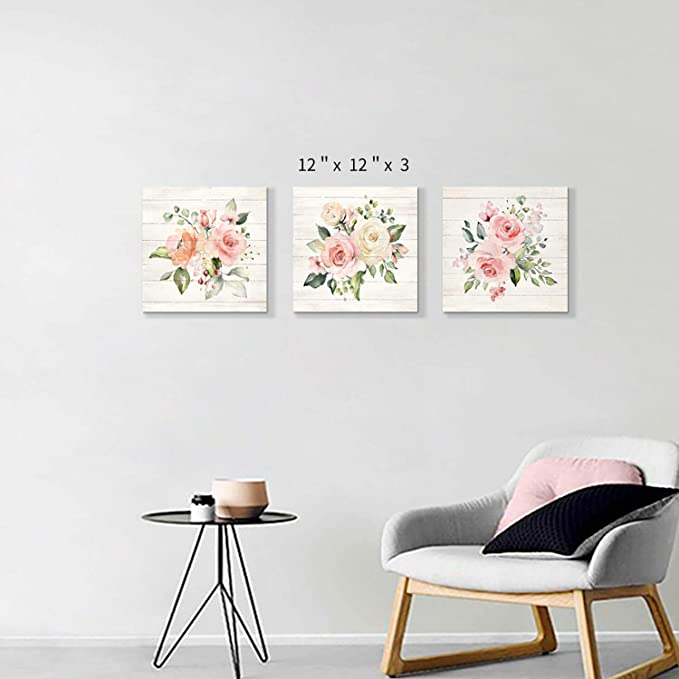 Canvas 3 Piece Pink Rose Tea Cup Flower Kitchen Food Pictures Wall Picture 9a413