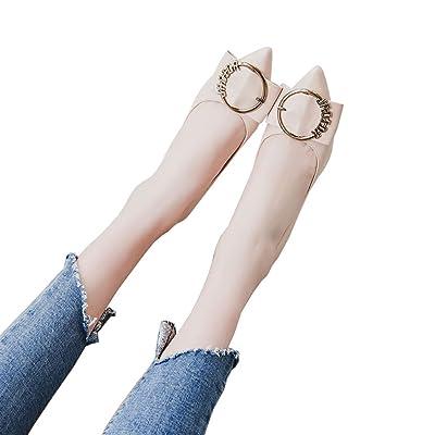GAIHU Chaussures 6cm beige, pointu, Talon peu profondes des talons hauts, boucle ronde travail professionnel