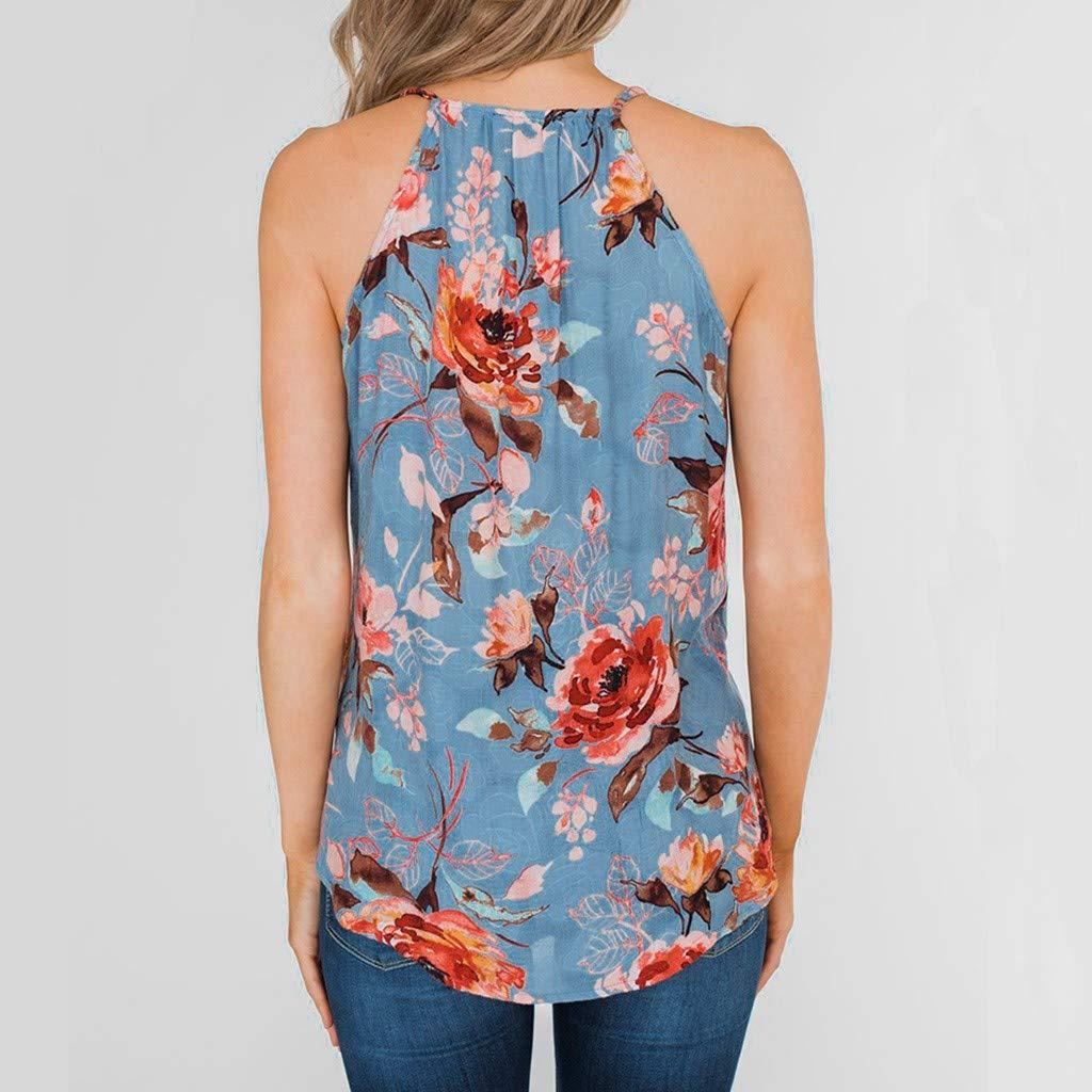Womens Spaghetti Strap Tank Tops Flower Printed Ruffled T-Shirt Summer Sleeveless Tee Blouses Transer
