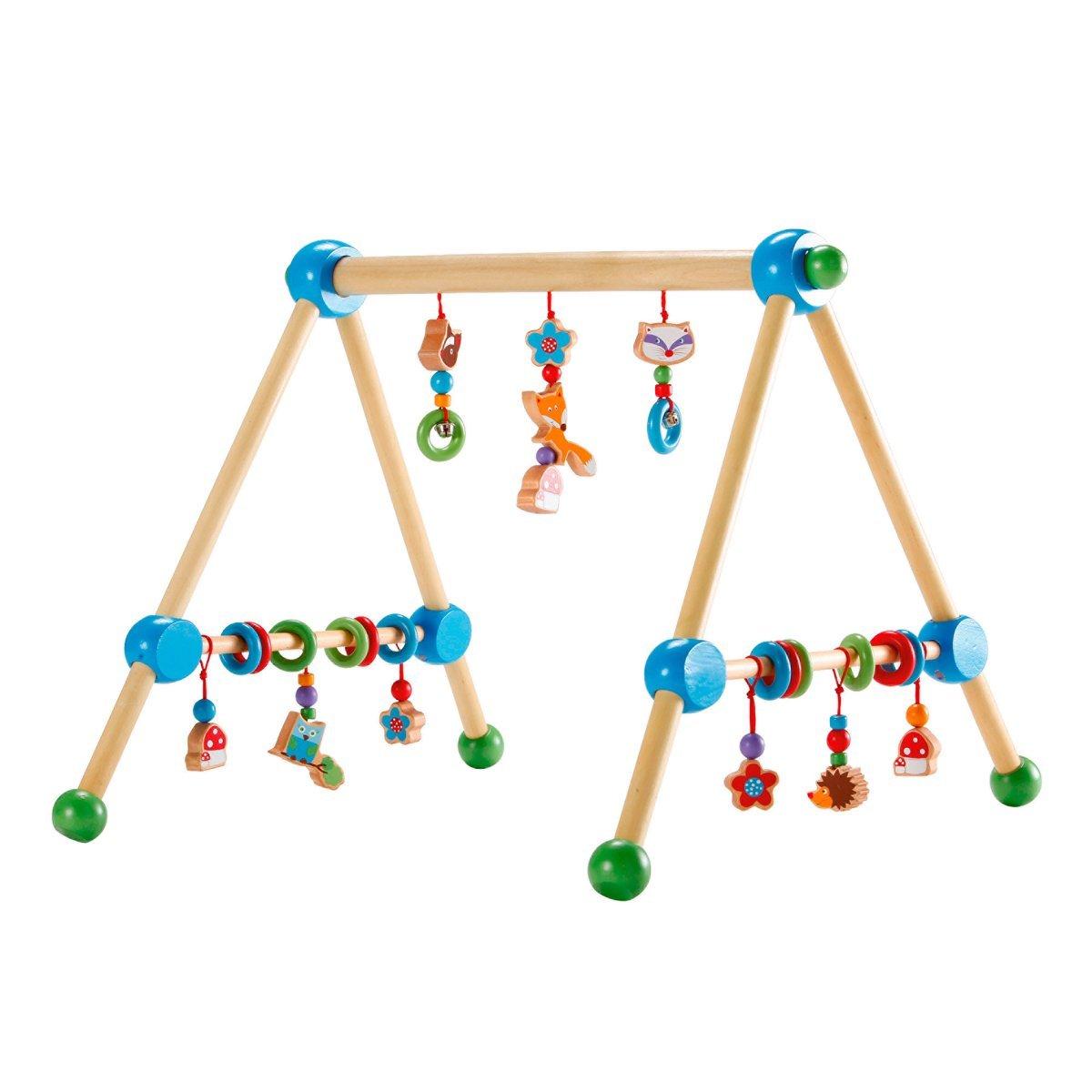solini Spieltrapez Waldtiere / Spielbogen - Holz, höhenverstellbar, bunt - Babyspielgerät / Babyspielzeug höhenverstellbar