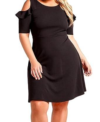 Comfy-Women Crew Neck Flounced Thin Plus Size Cut Out Off Shoulder Dresses  Black L d21d00324