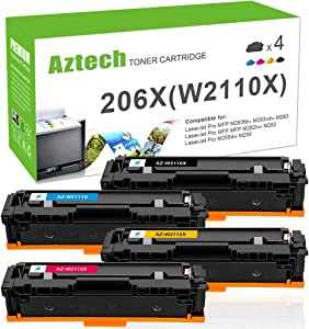 Aztech Compatible Toner Cartridge Replacement for HP 206X 206A W2110X W2110A HP Color Laserjet Pro M255dw MFP M283fdw M283cdw M283 M282nw M255 W2111X W2112X W2113X (Black Cyan Yellow Magenta, 4-Pack)