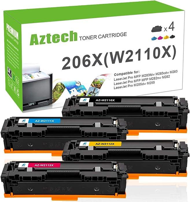Aztech Compatible Toner Cartridge Replacement for HP 206X 206A W2110X W2110A HP Color Laserjet Pro M255dw MFP M283fdw M283cdw M283 M282nw M255 W2111X W2112X W2113X (Black Cyan Yellow Magenta, 4-Pack)