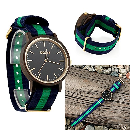 Unisex Wood Wrist Watch, Wooden Quartz Analog Wristwatch, Bamboo Casual Business Watch with Nylon Multi-Color Striped Band - Black Wood by Oct17